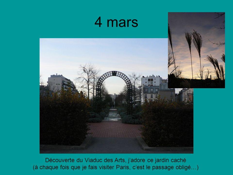 4 mars Découverte du Viaduc des Arts, jadore ce jardin caché (à chaque fois que je fais visiter Paris, cest le passage obligé…)