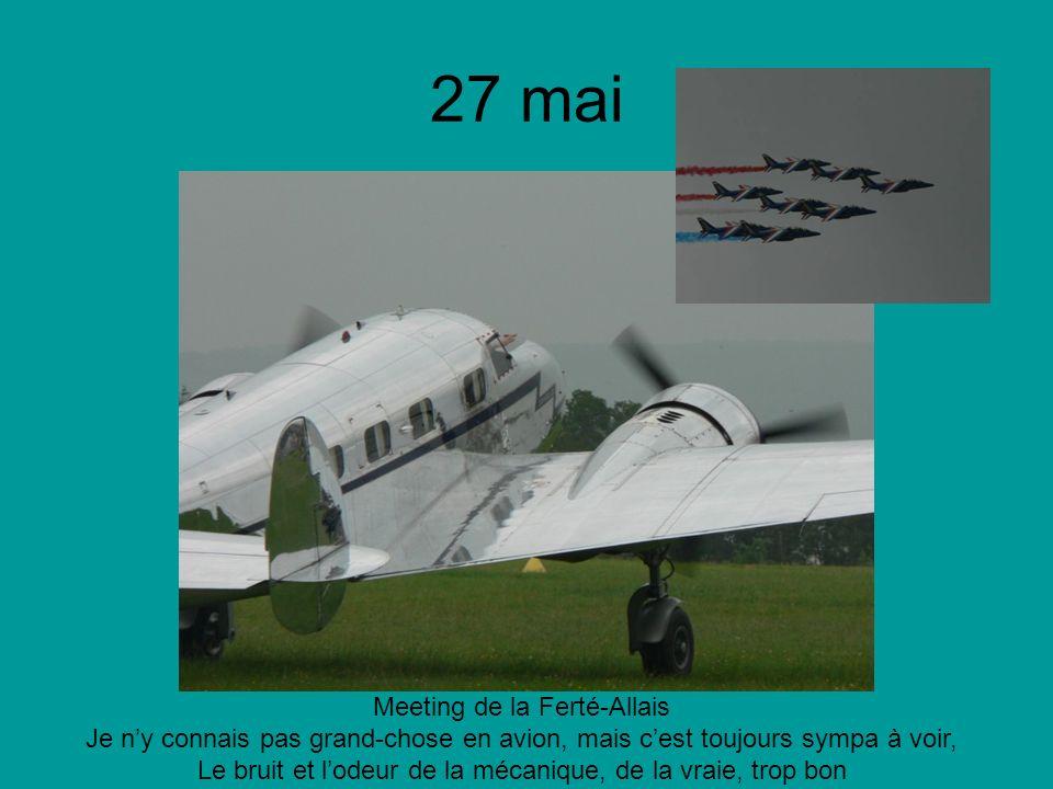 27 mai Meeting de la Ferté-Allais Je ny connais pas grand-chose en avion, mais cest toujours sympa à voir, Le bruit et lodeur de la mécanique, de la vraie, trop bon