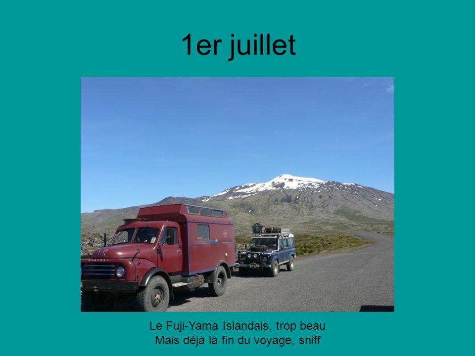 1er juillet Le Fuji-Yama Islandais, trop beau Mais déjà la fin du voyage, sniff