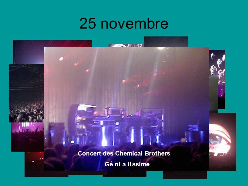 25 novembre Concert des Chemical Brothers Génialissime