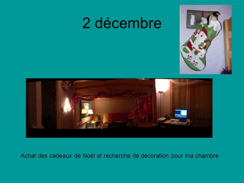 2 décembre Achat des cadeaux de Noël et recherche de décoration pour ma chambre