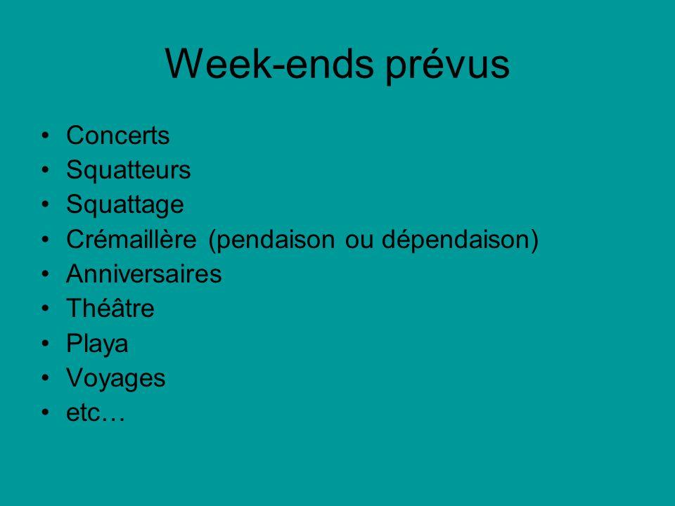 Week-ends prévus Concerts Squatteurs Squattage Crémaillère (pendaison ou dépendaison) Anniversaires Théâtre Playa Voyages etc…