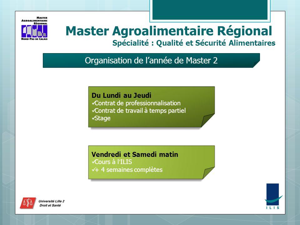 Master Agroalimentaire Régional Spécialité : Qualité et Sécurité Alimentaires Organisation de lannée de Master 2 Du Lundi au Jeudi Contrat de professi
