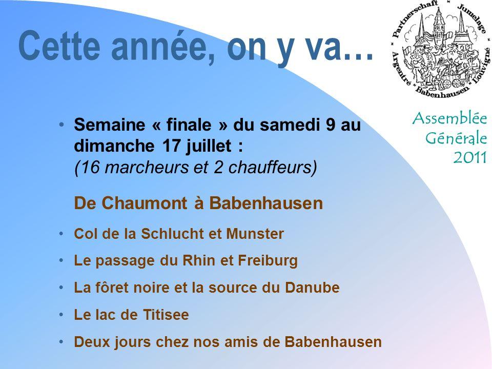 Assemblée Générale 2011 Cette année, on y va… Inscriptions : Dès ce soir Coûts (maximum) : Randonnée douverture : gratuit Week end 21-22 mai :10 /pers.