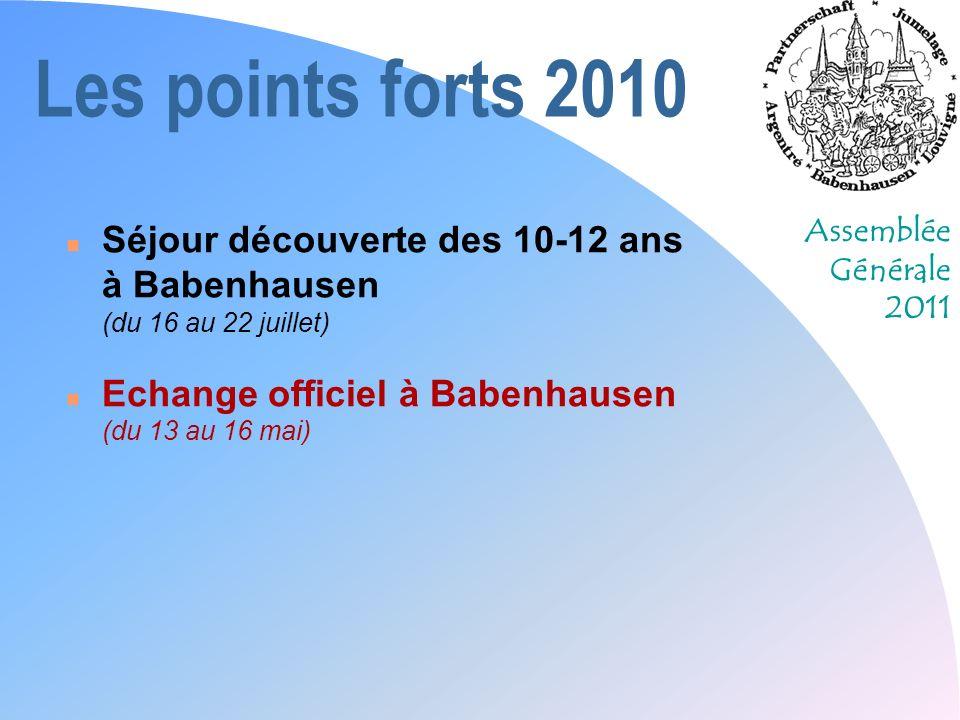 Assemblée Générale 2011 Les perspectives 2011 n « Cette année, on y va à pied !!.