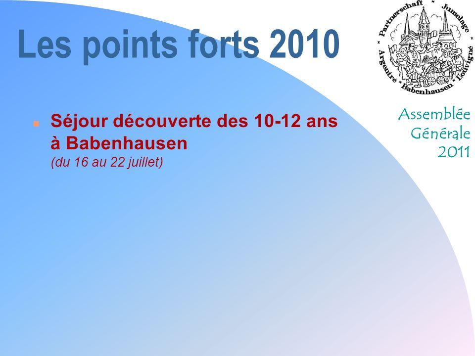 Assemblée Générale 2011 Les perspectives 2011 n « Cette année, on y va à pied !!! »