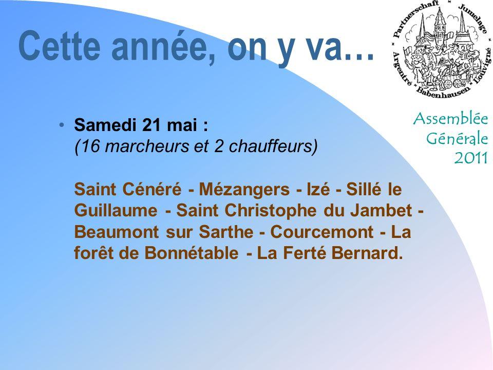 Assemblée Générale 2011 Cette année, on y va… Dimanche 22 mai : (16 marcheurs et 2 chauffeurs peuvent être les mêmes que le samedi) La Ferté Bernard - Saint Ulphace - La Bazoche-Gouët - Arrou - Villarmoy - Le bois de Moléans - Bazoches en Dunois - Loigny la bataille - Artenay.