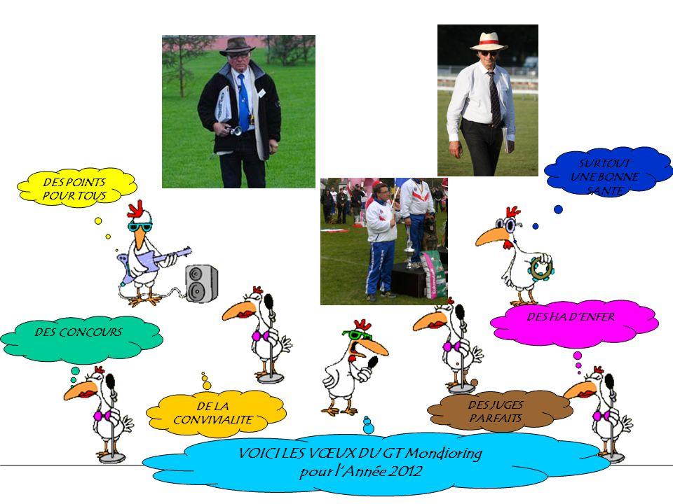 DES POINTS POUR TOUS DES CONCOURS DE LA CONVIVIALITE DES JUGES PARFAITS DES HA DENFER VOICI LES VŒUX DU GT Mondioring pour lAnnée 2012