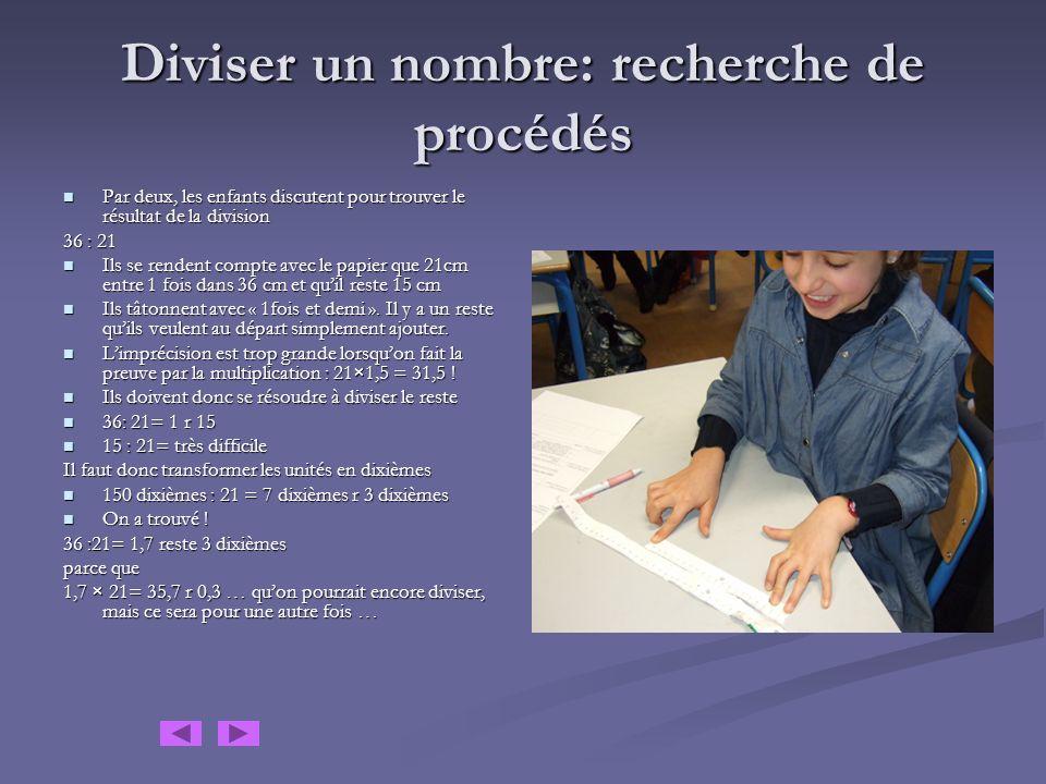 Travail de recherche sur le calcul des rapports A partir des longueurs moyennes, les enfants construisent des bandelettes de papier de même longueur.