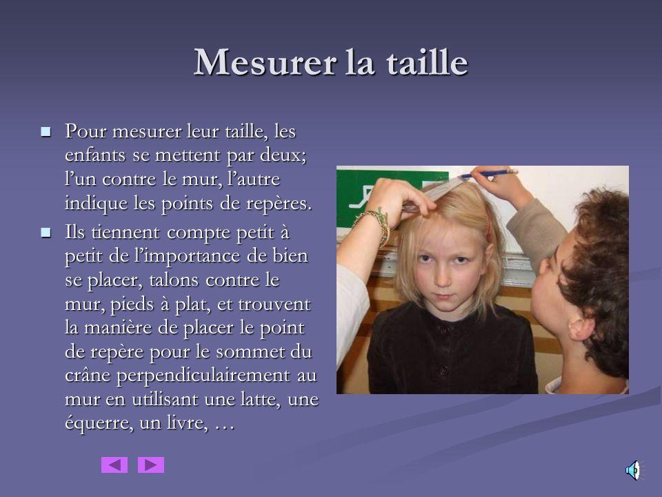 Mesurer la longueur du pied Les enfants mesurent seuls ou à deux éparpillés dans la classe, ils font des commentaires, cherchent la meilleure façon de