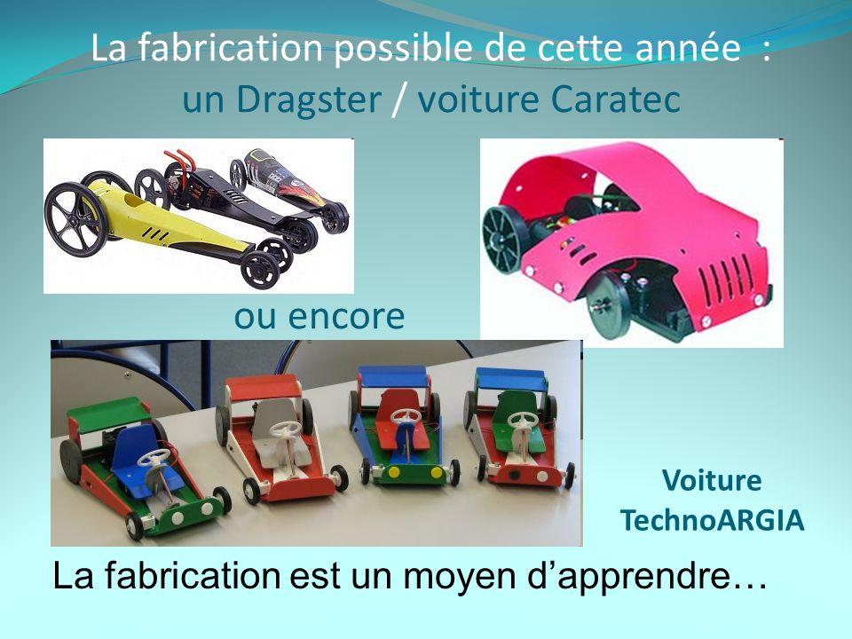 La fabrication possible de cette année : un Dragster / voiture Caratec La fabrication est un moyen dapprendre… Voiture TechnoARGIA ou encore