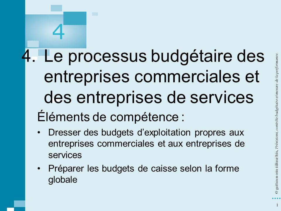 1 © gaëtan morin éditeur ltée, Prévisions, contrôle budgétaire et mesure de la performance. 4. Le processus budgétaire des entreprises commerciales et