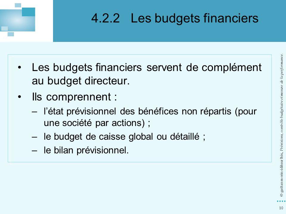 10 © gaëtan morin éditeur ltée, Prévisions, contrôle budgétaire et mesure de la performance. Les budgets financiers servent de complément au budget di