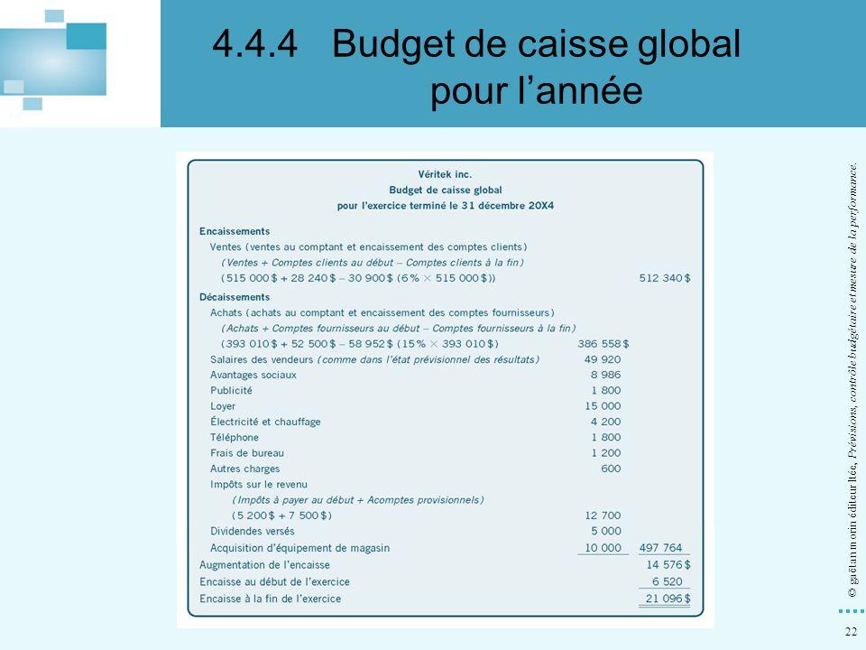 22 © gaëtan morin éditeur ltée, Prévisions, contrôle budgétaire et mesure de la performance. 4.4.4Budget de caisse global pour lannée