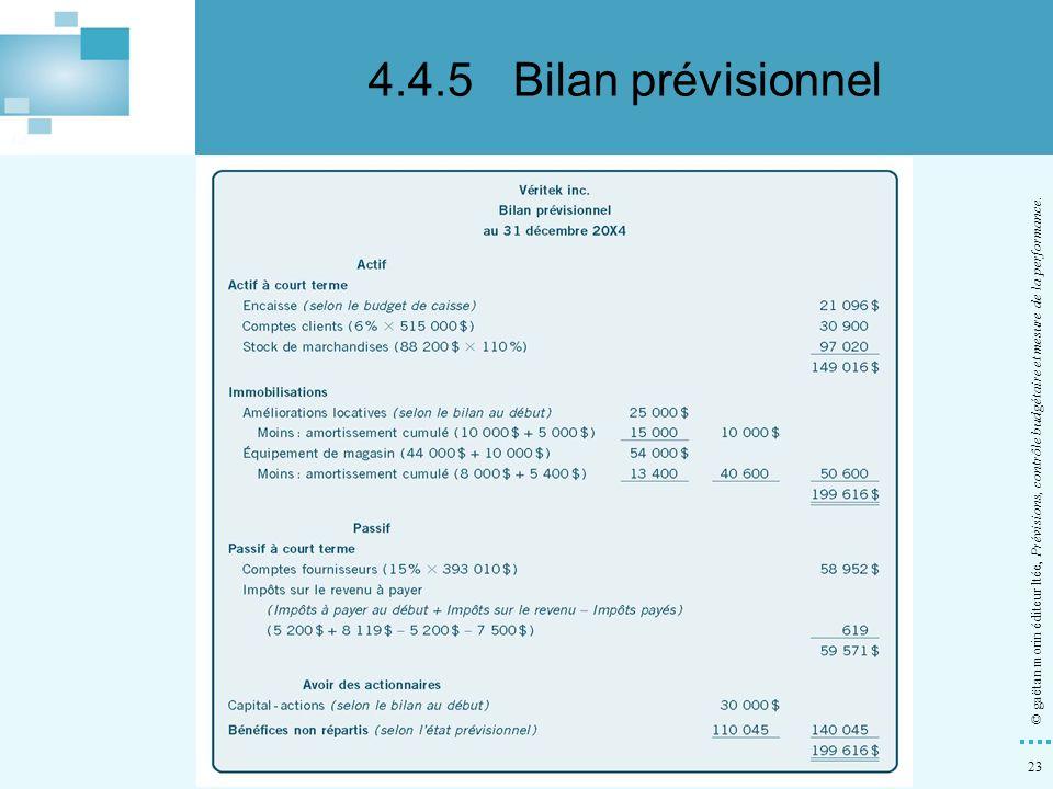 23 © gaëtan morin éditeur ltée, Prévisions, contrôle budgétaire et mesure de la performance. 4.4.5Bilan prévisionnel