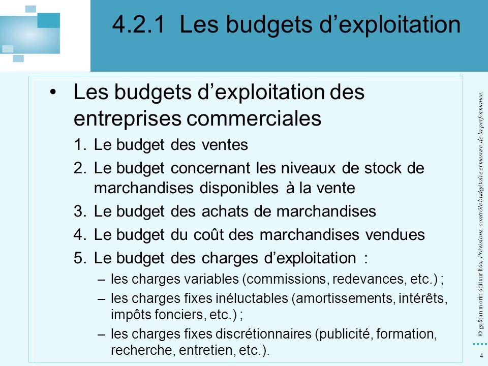 4 © gaëtan morin éditeur ltée, Prévisions, contrôle budgétaire et mesure de la performance. Les budgets dexploitation des entreprises commerciales 1.L