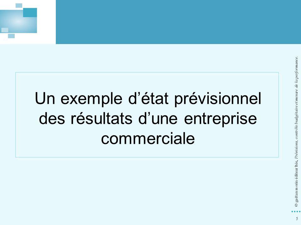 5 © gaëtan morin éditeur ltée, Prévisions, contrôle budgétaire et mesure de la performance. Un exemple détat prévisionnel des résultats dune entrepris