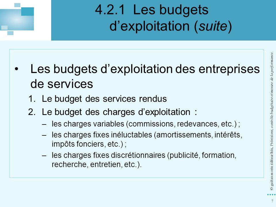 7 Les budgets dexploitation des entreprises de services 1.Le budget des services rendus 2.Le budget des charges dexploitation : –les charges variables