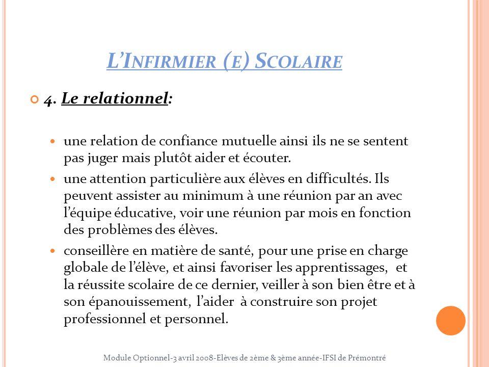 LI NFIRMIER ( E ) S COLAIRE 4. Le relationnel: une relation de confiance mutuelle ainsi ils ne se sentent pas juger mais plutôt aider et écouter. une