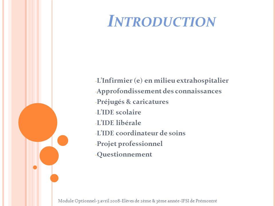 I NTRODUCTION - LInfirmier (e) en milieu extrahospitalier - Approfondissement des connaissances - Préjugés & caricatures - LIDE scolaire - LIDE libéra