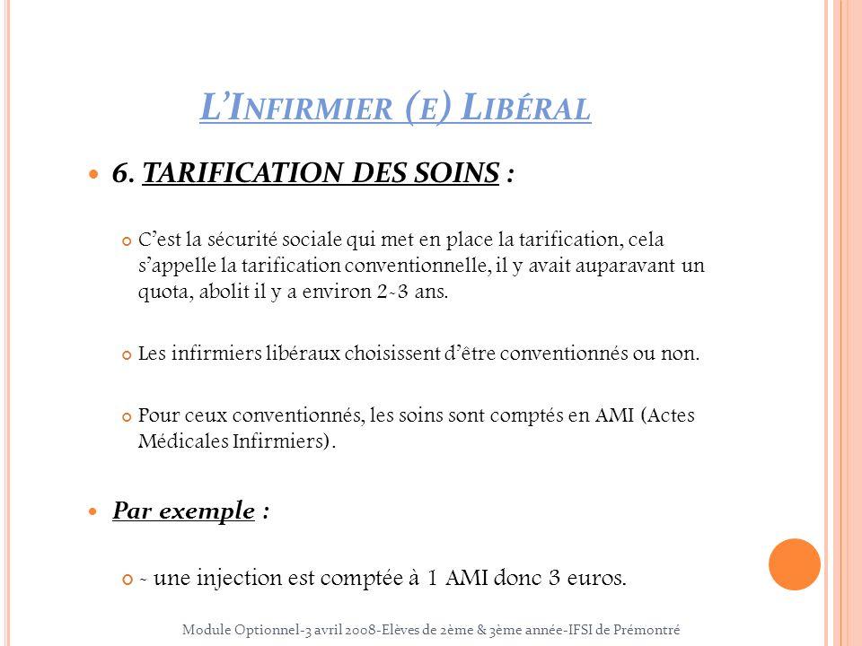 LI NFIRMIER ( E ) L IBÉRAL 6. TARIFICATION DES SOINS : Cest la sécurité sociale qui met en place la tarification, cela sappelle la tarification conven