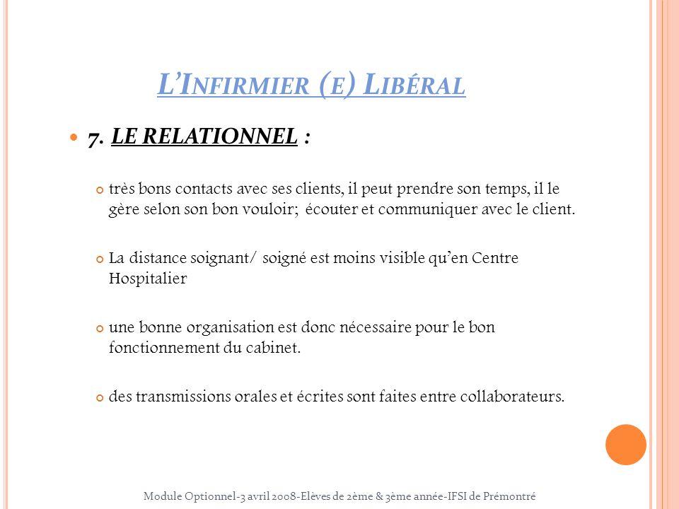 7. LE RELATIONNEL : très bons contacts avec ses clients, il peut prendre son temps, il le gère selon son bon vouloir; écouter et communiquer avec le c