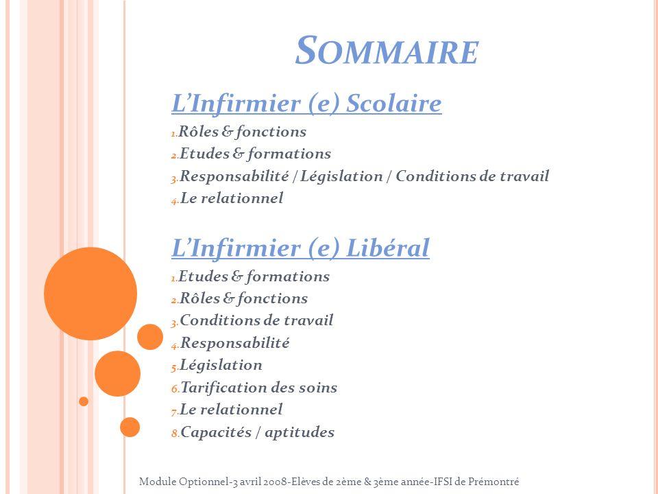 S OMMAIRE LInfirmier (e) Scolaire 1. Rôles & fonctions 2. Etudes & formations 3. Responsabilité / Législation / Conditions de travail 4. Le relationne