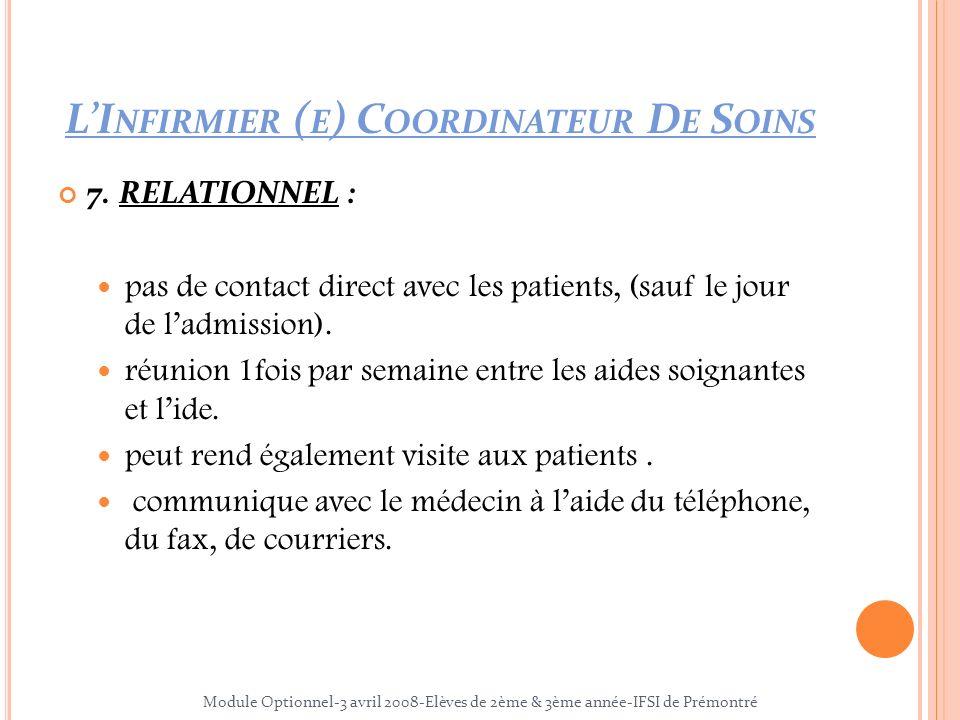 7. RELATIONNEL : pas de contact direct avec les patients, (sauf le jour de ladmission). réunion 1fois par semaine entre les aides soignantes et lide.