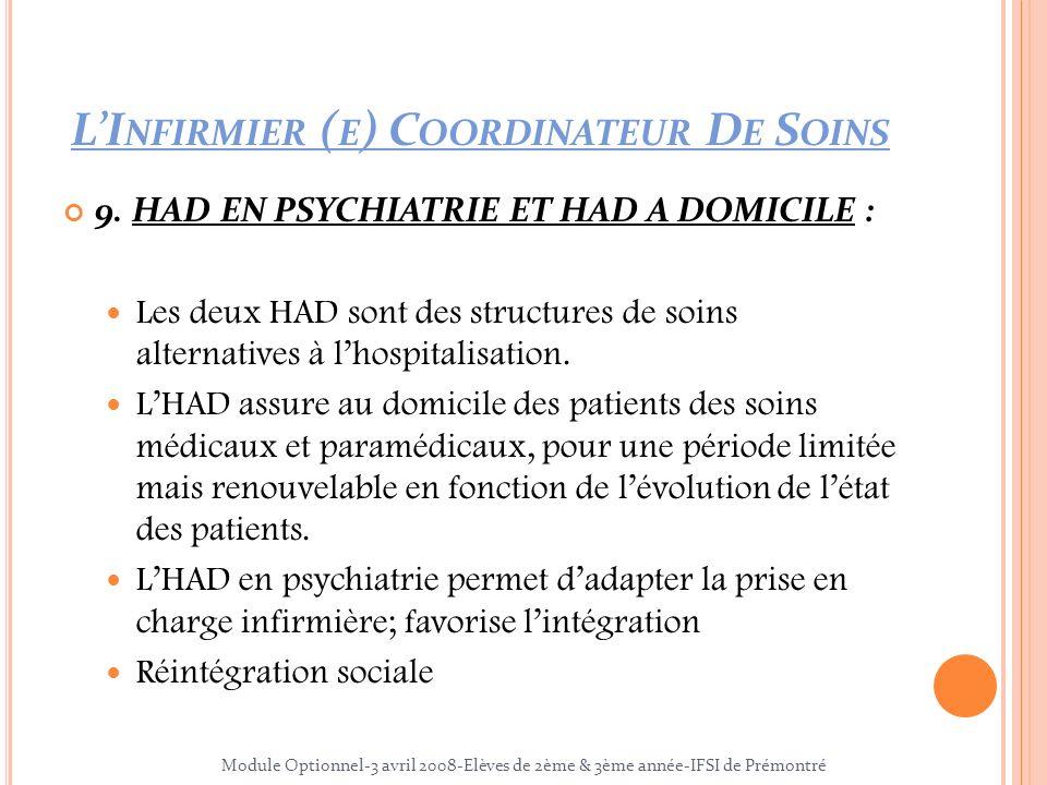 9. HAD EN PSYCHIATRIE ET HAD A DOMICILE : Les deux HAD sont des structures de soins alternatives à lhospitalisation. LHAD assure au domicile des patie