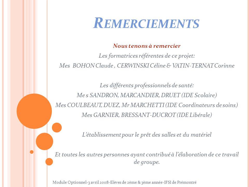 R EMERCIEMENTS Nous tenons à remercier Les formatrices référentes de ce projet: Mes BOHON Claude, CERWINSKI Céline & VATIN-TERNAT Corinne Les différen