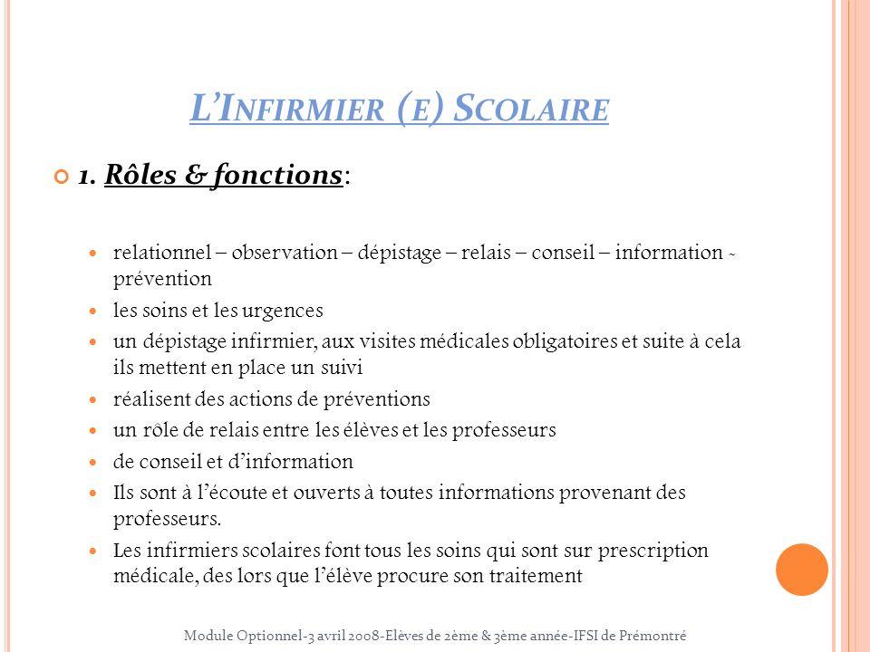 LI NFIRMIER ( E ) S COLAIRE 1. Rôles & fonctions: relationnel – observation – dépistage – relais – conseil – information - prévention les soins et les