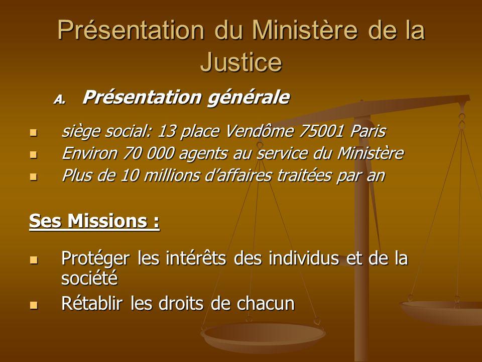 Présentation du Ministère de la Justice A. Présentation générale siège social: 13 place Vendôme 75001 Paris siège social: 13 place Vendôme 75001 Paris