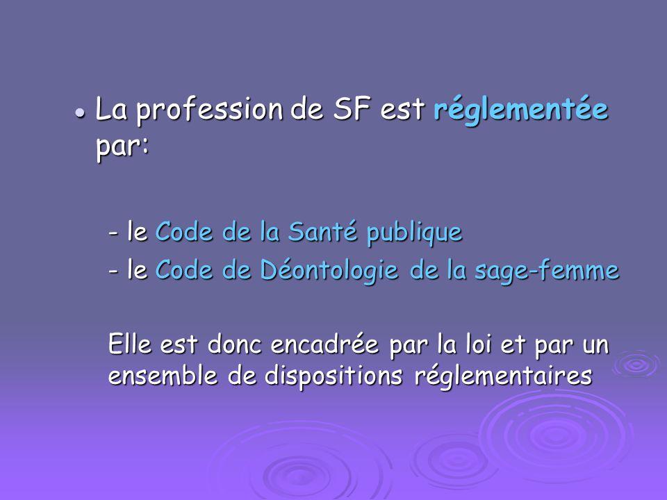 La profession de SF est réglementée par: La profession de SF est réglementée par: - le Code de la Santé publique - le Code de Déontologie de la sage-f