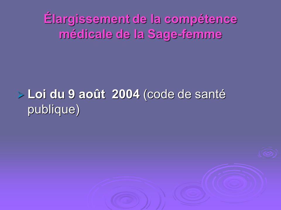 Élargissement de la compétence médicale de la Sage-femme Loi du 9 août 2004 (code de santé publique) Loi du 9 août 2004 (code de santé publique)