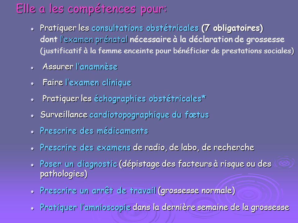 Elle a les compétences pour: Pratiquer les consultations obstétricales (7 obligatoires) lexamen prénatal Pratiquer les consultations obstétricales (7