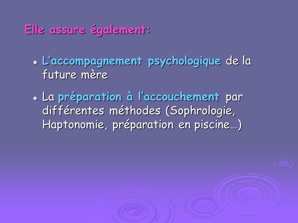 Elle assure également: Laccompagnement psychologique de la future mère Laccompagnement psychologique de la future mère La préparation à laccouchement