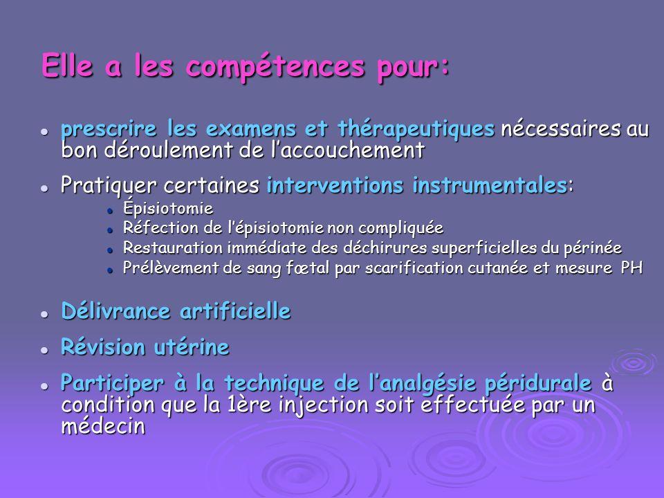 Elle a les compétences pour: prescrire les examens et thérapeutiques nécessaires au bon déroulement de laccouchement prescrire les examens et thérapeu