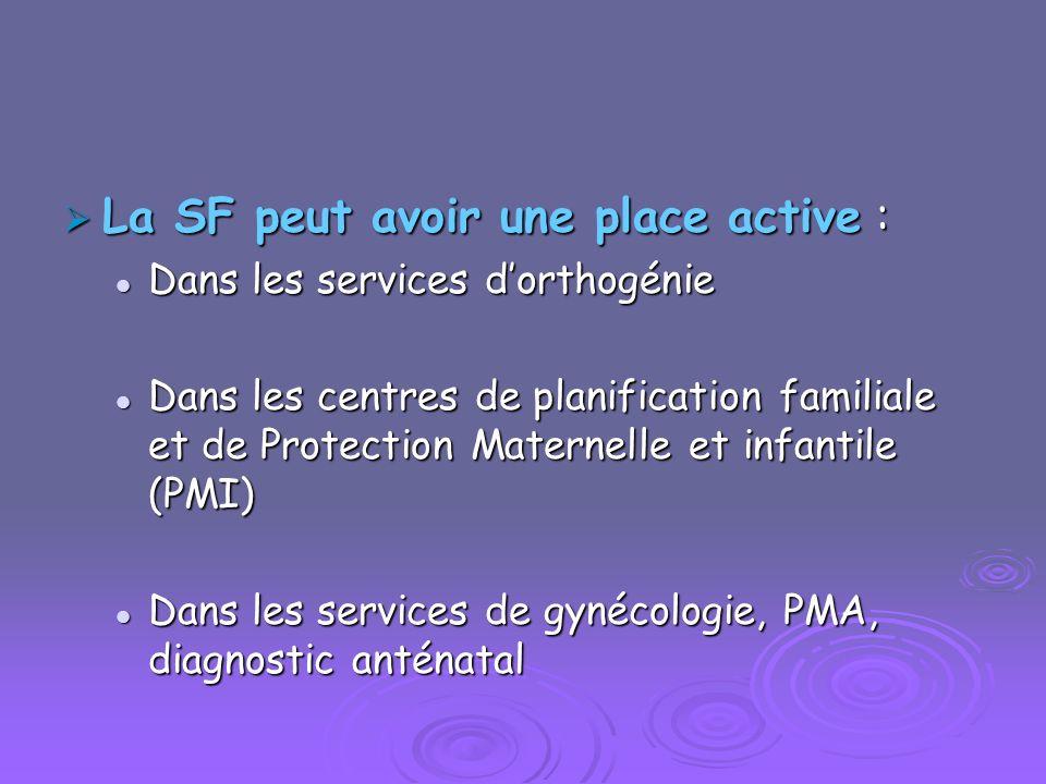 La SF peut avoir une place active : La SF peut avoir une place active : Dans les services dorthogénie Dans les services dorthogénie Dans les centres d