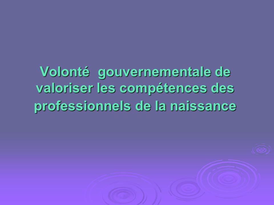 Volonté gouvernementale de valoriser les compétences des professionnels de la naissance
