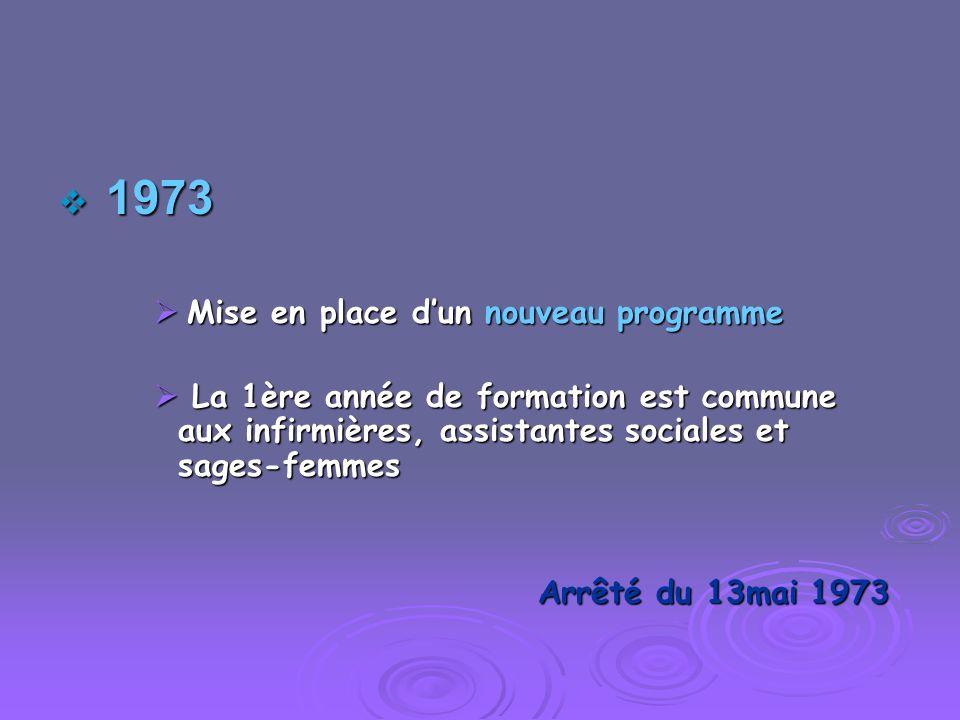1973 1973 Mise en place dun nouveau programme Mise en place dun nouveau programme La 1ère année de formation est commune aux infirmières, assistantes