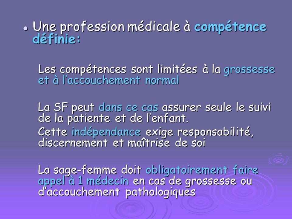 Une profession médicale à compétence définie: Une profession médicale à compétence définie: Les compétences sont limitées à la grossesse et à laccouch