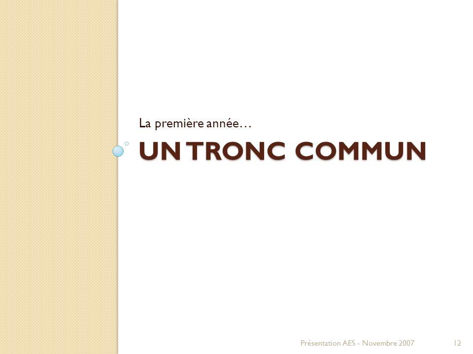 UN TRONC COMMUN La première année… Présentation AES - Novembre 200712