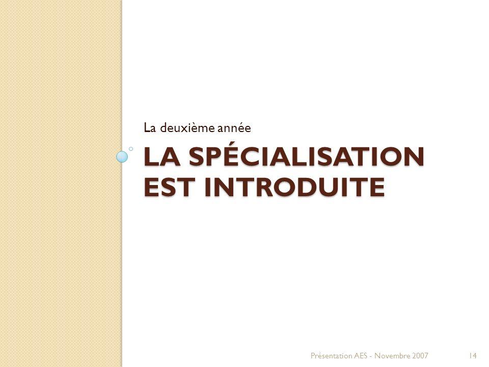 LA SPÉCIALISATION EST INTRODUITE La deuxième année Présentation AES - Novembre 200714