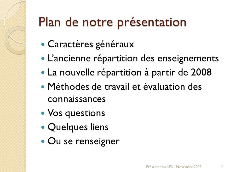 Plan de notre présentation Caractères généraux Lancienne répartition des enseignements La nouvelle répartition à partir de 2008 Méthodes de travail et