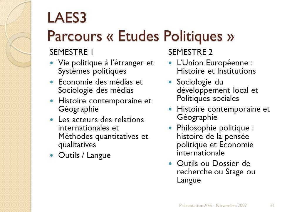 LAES3 Parcours « Etudes Politiques » SEMESTRE 1 Vie politique à létranger et Systèmes politiques Economie des médias et Sociologie des médias Histoire
