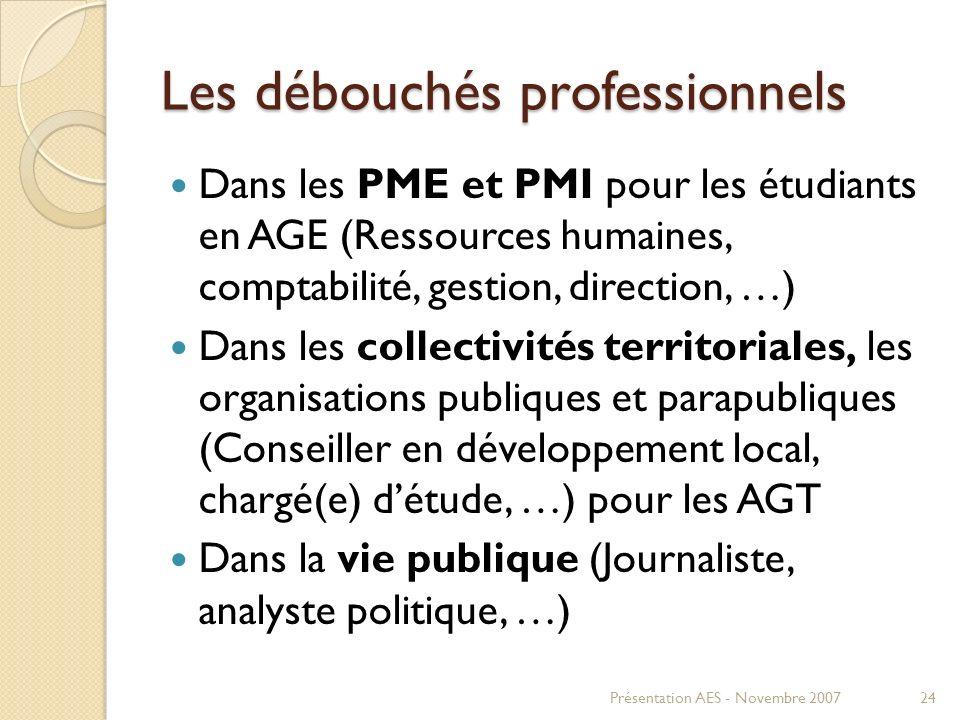 Les débouchés professionnels Dans les PME et PMI pour les étudiants en AGE (Ressources humaines, comptabilité, gestion, direction, …) Dans les collect