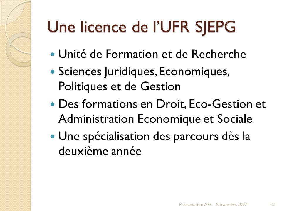 Une licence de lUFR SJEPG Unité de Formation et de Recherche Sciences Juridiques, Economiques, Politiques et de Gestion Des formations en Droit, Eco-G