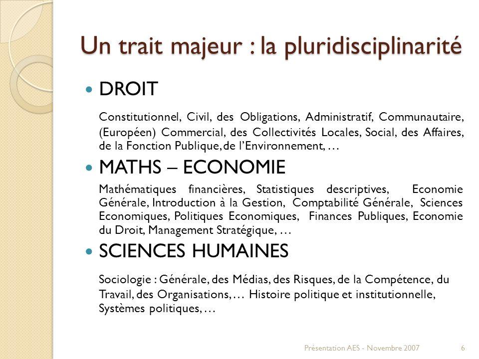 Un trait majeur : la pluridisciplinarité DROIT Constitutionnel, Civil, des Obligations, Administratif, Communautaire, (Européen) Commercial, des Colle