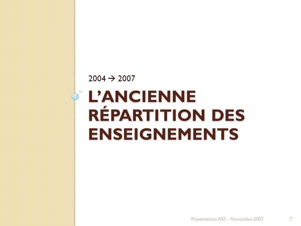 LANCIENNE RÉPARTITION DES ENSEIGNEMENTS 2004 2007 Présentation AES - Novembre 20077