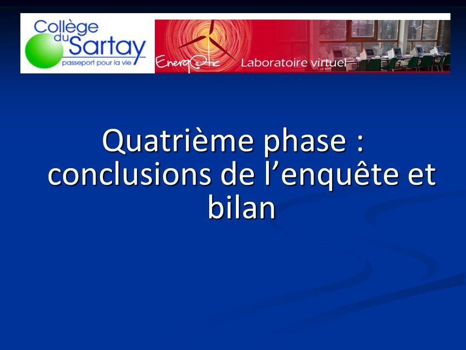 Quatrième phase : conclusions de lenquête et bilan